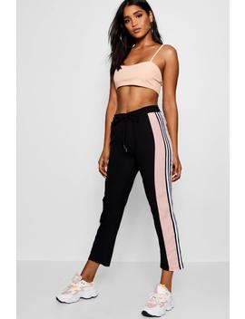 Sports Stripe Luxe Woven Jogger by Boohoo