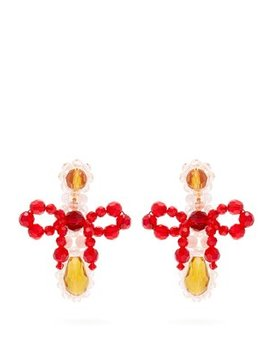 Bow Crystal Beaded Drop Earrings by Simone Rocha