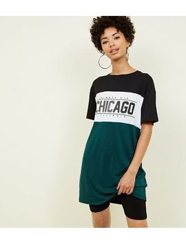 Green Colour Block Chicago Slogan Longline T Shirt by New Look