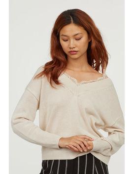 Пуловер с дантелен кант by H&M
