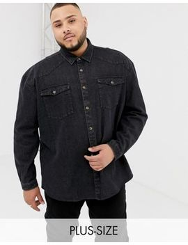 Collusion Plus Oversized Western Denim Shirt In Washed Black by Collusion