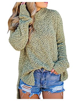 Seraih Womens Fuzzy Sherpa Fleece Long Sleeve Sweaters Loose Asymmetric Pullovers Coat by Seraih