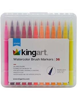 Kingart 410 36 Watercolor Brush Markers, One Size, Multicolor by Kingart