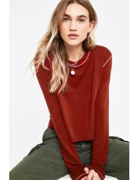 Uo Contrast Stitch Crop Jumper by Urban Outfitters