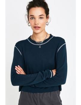 Uo Teal Contrast Stitch Crop Jumper by Urban Outfitters