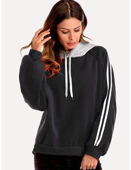 Drawstring Hoodie Striped Panel Sweatshirt by Shein
