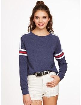 Navy Heathered Varsity Striped Raglan Sleeve Sweatshirt by Shein