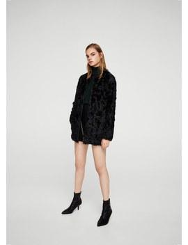 Fur Leather Coat by Mango