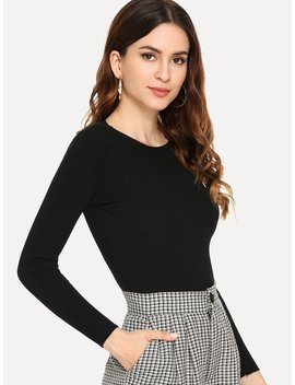 Solid Ribbed Jumper by Shein