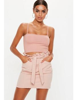 Pink Paperbag Tie Waist Denim Mini Skirt by Missguided