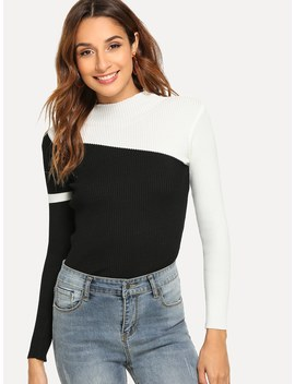 Color Block Sweater by Shein