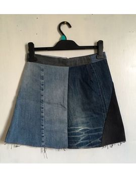 Topshop Loving Youth Patchwork Denim Mini Skirt Size 10 by Ebay Seller