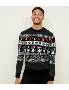 Black Christmas Penguin Jumper by New Look