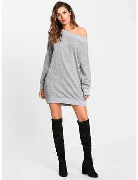 Off Shoulder Marled Knit Sweater Dress by Shein