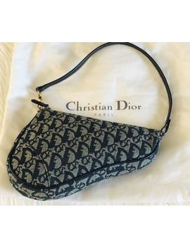 Vintage Auth Christian Dior Saddle Bag Mini Trotter Blue Monogram by Christian Dior