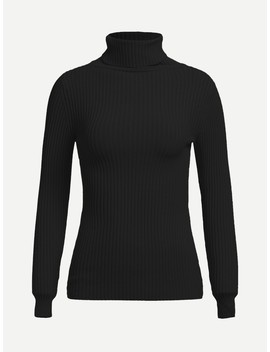 High Neck Rib Knit Slim Fitted Sweater by Shein