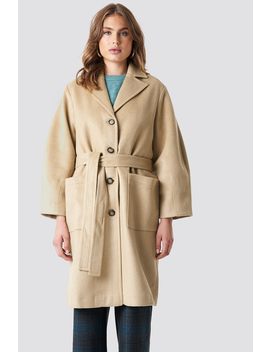 Camel Button Detailed Coat by Trendyol