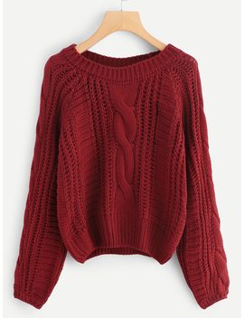 Solid Cable Knit Jumper by Shein