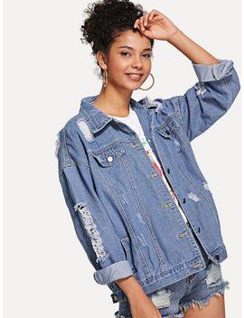 Ripped Button Front Denim Jacket by Shein