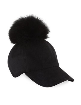 Fox Fur Pompom Felt Baseball Cap, Black by Adrienne Landau