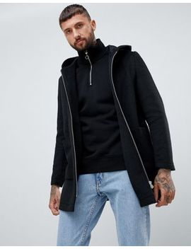 Asos Design Wool Mix Hooded Overcoat In Black by Asos Design