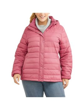 Time And Tru Women's Plus Size Hooded Puffer Jacket by Time And Tru