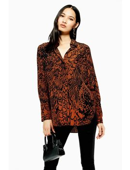 Snake Print Oversized Shirt by Topshop