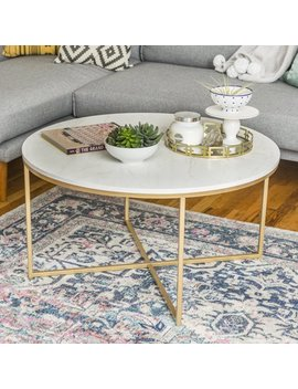 Manor Park Round Mid Century Modern With X Base Coffee Table   White Marble/Gold by Manor Park