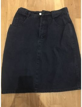 Vintage Denim Skirt 12 Blue High Waisted Above The Knee by Ebay Seller