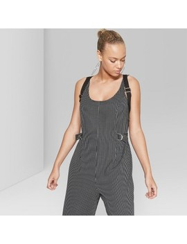 Women's Striped Cropped Woven Jumpsuit   Wild Fable™ Black by Wild Fable™