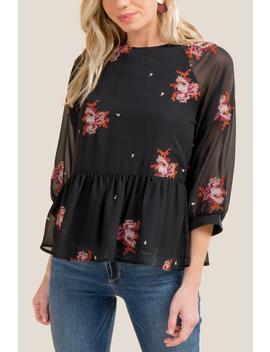 Roxi Cross Stitch Floral Blouse by Francesca's