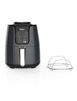 Ninja Air Fryer, 1550 Watt Programmable Base For Air Frying, Roasting, Reheating & Dehydrating With 4 Quart Ceramic Coated Basket (Af101), Black/Gray by Shark Ninja