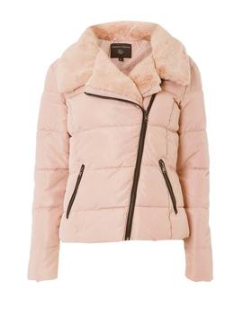 Blush Asymmetric Faux Fur Collar Padded Jacket by Dorothy Perkins