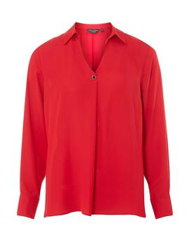 Red One Button Collar Top by Dorothy Perkins