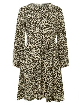 Multi Colour Leopard Print Belted Midi Skater Dress by Dorothy Perkins