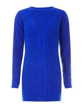 Cobalt Cable Tunic Jumper by Dorothy Perkins