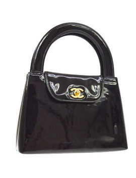 Authentic Chanel Cc Logos Hand Bag Black Patent Leather Vintage Ghw Ak25799 by Chanel