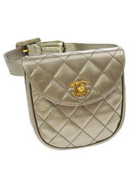 Authentic Chanel Quilted Cc Bum Bag Waist Pouch Silver Leather Vintage A38448 by Chanel