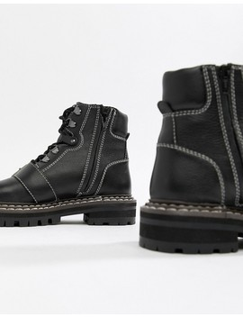 Asos Design Archie Premium Leather Chunky Hiker Ankle Boots by Asos Design