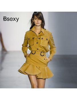 Runway Blouse Skirt Sets 2018 Autumn 2 Pieces Set Women Yellow Pockets Long Sleeve Shirt Crop Top And Ruffle Mini Skirt Sets by Bsexy