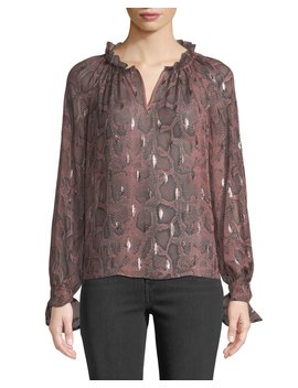 Long Sleeve Metallic Snake Print Blouse by Rebecca Taylor