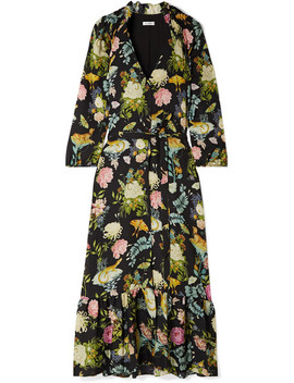 Olivia Floral Print Silk Jacquard Midi Dress by Vilshenko