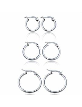 Um Jewelry Classic Round Women's Hoop Earrings Surgical Stainless Steel Hypoallergenic,Silver Tone by Amazon