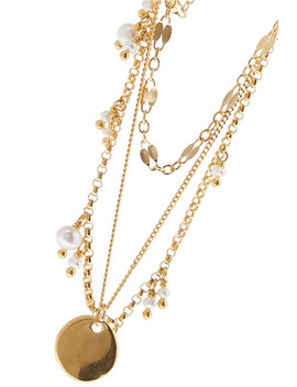 Layered Gold Plated Pearl Necklace by Chan Luu