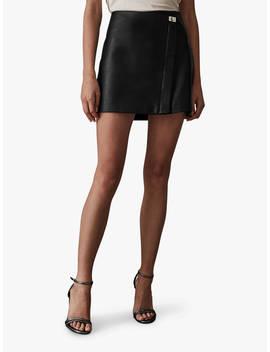 Reiss Fenella Lock Leather Mini Skirt, Black by Reiss