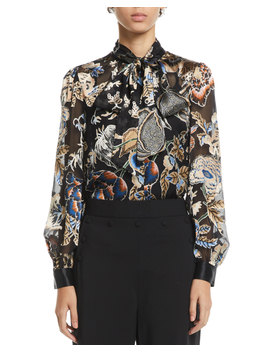 Floral Satin Burnout Tie Neck Blouse by Tory Burch