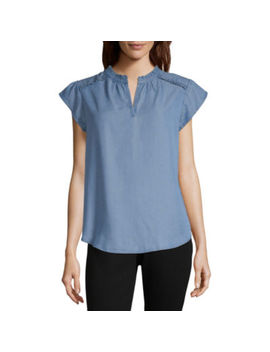 Liz Claiborne Short Sleeve Split Crew Neck Woven Blouse by Liz Claiborne