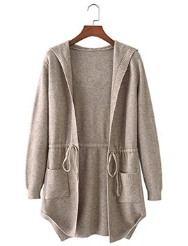 Futurino Women's Open Front With Pockets Hoodies Long Cardigan Boyfriend Sweater by Futurino