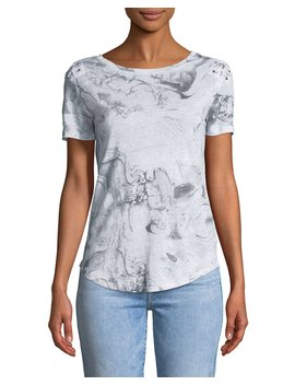 Graham Crewneck Abstract Print Lace Up Top by Neiman Marcus
