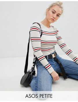 Asos Design Petite Cropped Jumper In Neutral Stripe by Asos Design